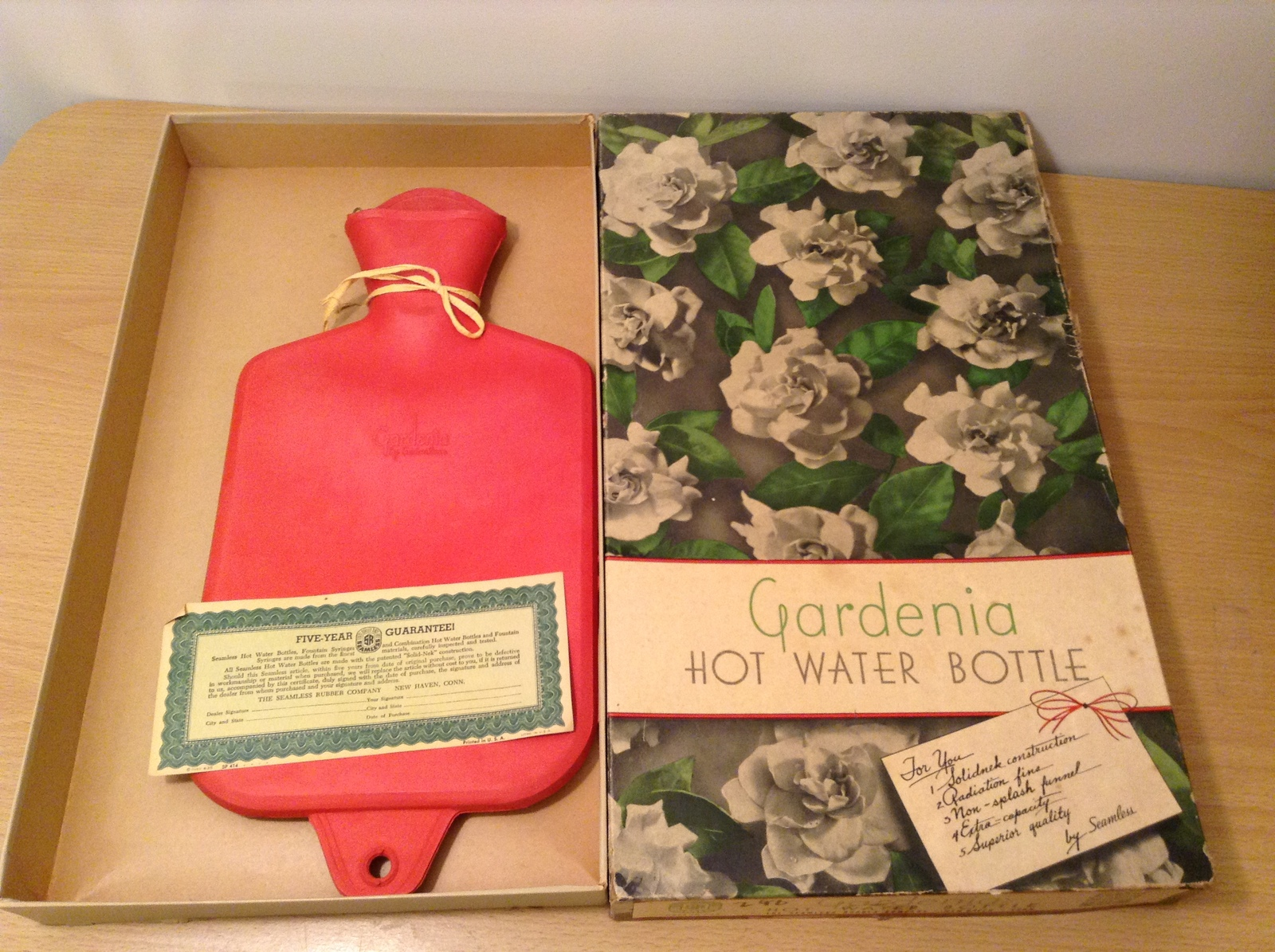 Vintage Gardenia Red Hot Water Bottle by Seamless Rubber Company Original Box