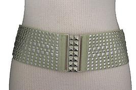 Women Beige Fashion Belt Hip High Waist Silver Metal Square Studs Buckle... - $13.71