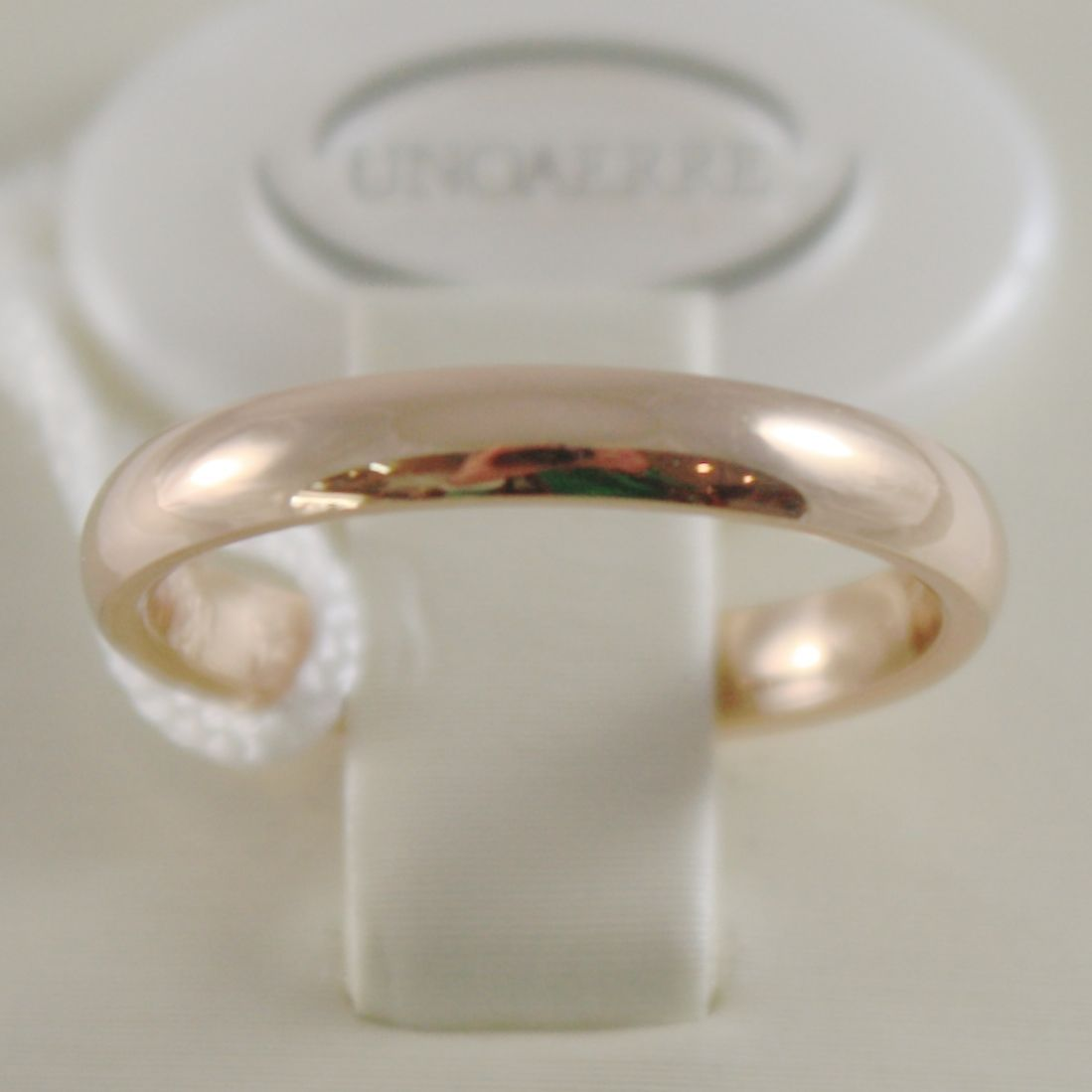 18K YELLOW GOLD WEDDING BAND UNOAERRE COMFORT RING MARRIAGE 3 MM, MADE IN ITALY