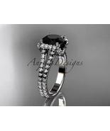 14k white gold diamond engagement ring with a Black Diamond center stone... - $2,400.00
