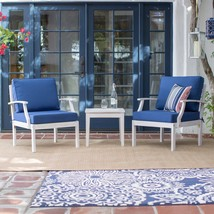 Whitewash Coastal Outdoor Wood 3pc Patio Chair Table Set Nautical Blue C... - $514.30