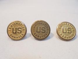 Vintage Set/Lot of 3 U.S. Immigration Service Button Gold/Brass Uniform/... - $4.90