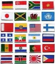 National flags emblem applique iron-on patch choose from 24 countries FM-1 - $1.99