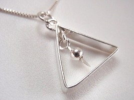 Triangle with Dangling Ball Necklace 925 Sterling Silver Corona Sun Jewelry - $14.97