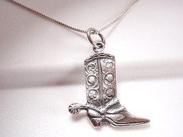 Cowboy Boot with Spur Necklace 925 Sterling Silver Corona Sun Jewelry rodeo - $19.37
