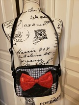 Disney Minnie Mouse Shoulder Strap Purse Red Sequin Bow Black Plaid ~ USED  - $4.95