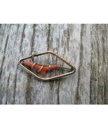 Old Vintage Victorian Gold fill Unicas Branch Coral Brooch Pin - $29.00