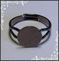 100 Gun Metal BLACK Adjustable Finger RING BLANKS Findings 10mm Flat Glu... - $19.79