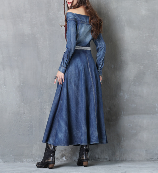 Ladies' Off The Shoulder Long Sleeves Denim Dress A82050