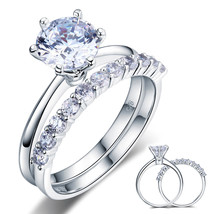 Sterling Silver Wedding Engagement Ring Set 2 Carat Man Made Lab Created... - $139.99