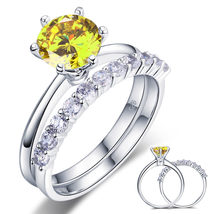 925 Sterling Silver Engagement Ring Set 2 Ct Yellow Canary Lab Created D... - $139.99
