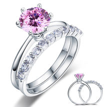 925 Sterling Silver Engagement Ring Set 2 Carat Fancy Pink Lab Created D... - $139.99