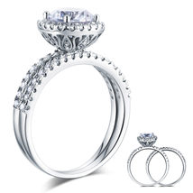 925 Sterling Silver Wedding Engagement Halo Ring Set 2 Carat Lab Created... - $149.99