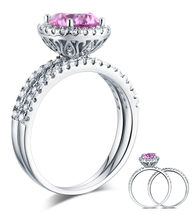 925 Sterling Silver Engagement Halo Ring Set 2 Carat Fancy Pink Lab Diamond - $149.99