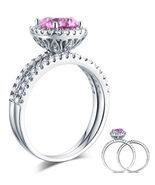925 Sterling Silver Engagement Halo Ring Set 2 Carat Fancy Pink Lab Diamond - $149.99