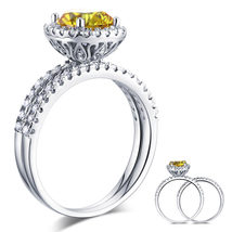 925 Sterling Silver Engagement Halo Ring Set 2 Ct Yellow Canary Man Made... - $149.99