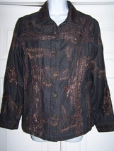 Chico's Women's Denim Jacket Size 1 Black Embroidered Sequins Long Sleeve - $24.95