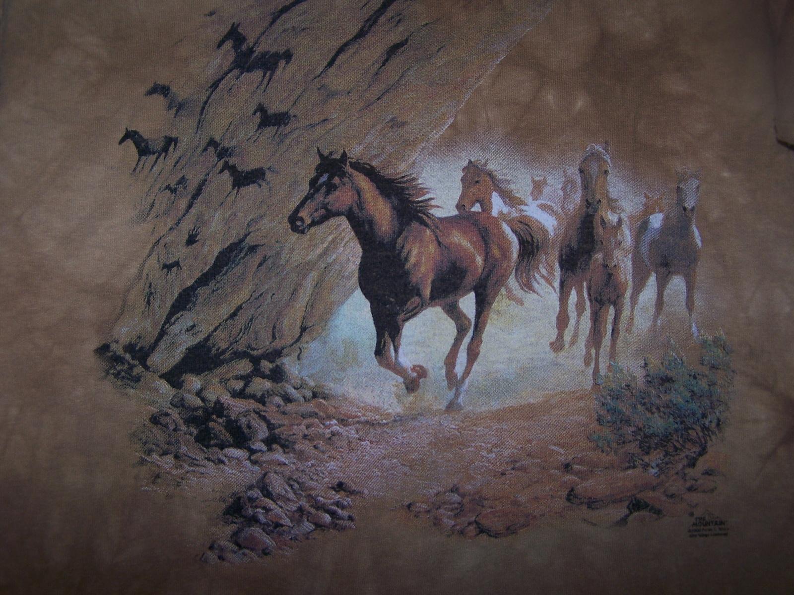 The Mountain Kids T-Shirt Large Wild Horses Short Sleeve