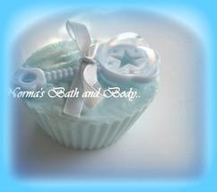 baby boy rattle cupcake glycerin soap - $4.75