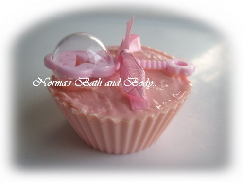 baby girl rattle kids cupcake soap - $4.75