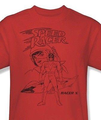 Speed Racer X T shirt I love 80's Saturday morning cartoon red cotton tee SPD102