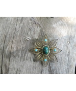 Vintage Eilat Stone Pendant Star Brooch Israel Old sterling silver Necklace - $65.00