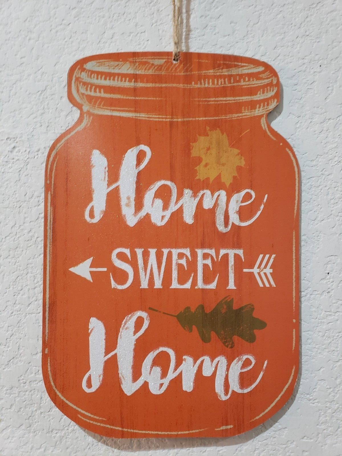 Fall Thanksgiving HOME SWEET HOME Mason Jar Pumpkins Wall Sign Plaque Decor