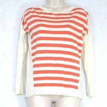 Talbots Sweater Knit Top Women Size SP Coral Ivory Stripe Long Sleeve Vi... - $14.84