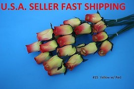 #15 Yellow / Red    One Dozen Wooden Roses Buds Free Shipping Us Seller - $8.90
