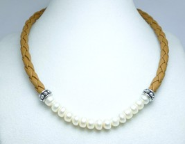 Cultured Freshwater Honora Pearl Braided Tan Le... - $69.00