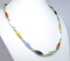"Multi Color Oval Jade Gemstone 14kt Yellow Gold 18"" Necklace - $95.00"