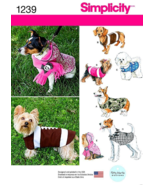 Simplicity 1239 Small Dog Coat Hoodie Scarf Pattern S-XL - $9.99