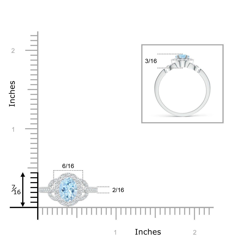 Vintage Style Oval Aquamarine Diamond Halo Engagement Ring 14k Gold/Platinum