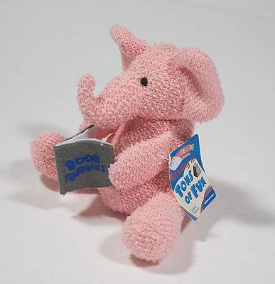 NWT RUSS BERRIE BAMBEANOS BOOK  BUDDIES PINK ELEPHANT BEANBAG PLUSH NEW