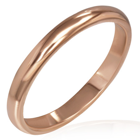 Pink Gold Plated Stainless Steel Half-Round Band Ring