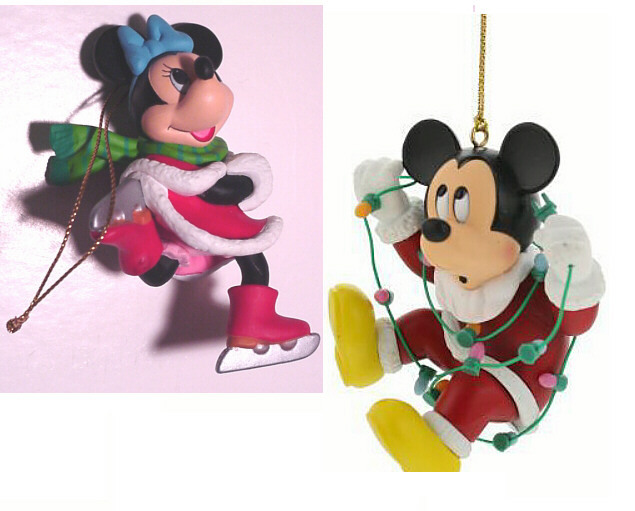 Primary image for DISNEY MICKEY MOUSE & MINNIE MOUSE  Vintage Collectible Christmas Tree Ornaments