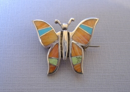 Sunrise Inlay Butterfly Pin Brooch Orange Spiney Turquoise Sterling Silver - $235.00