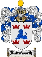 Primary image for Butterworth Family Crest / Coat of Arms JPG or PDF Image Download