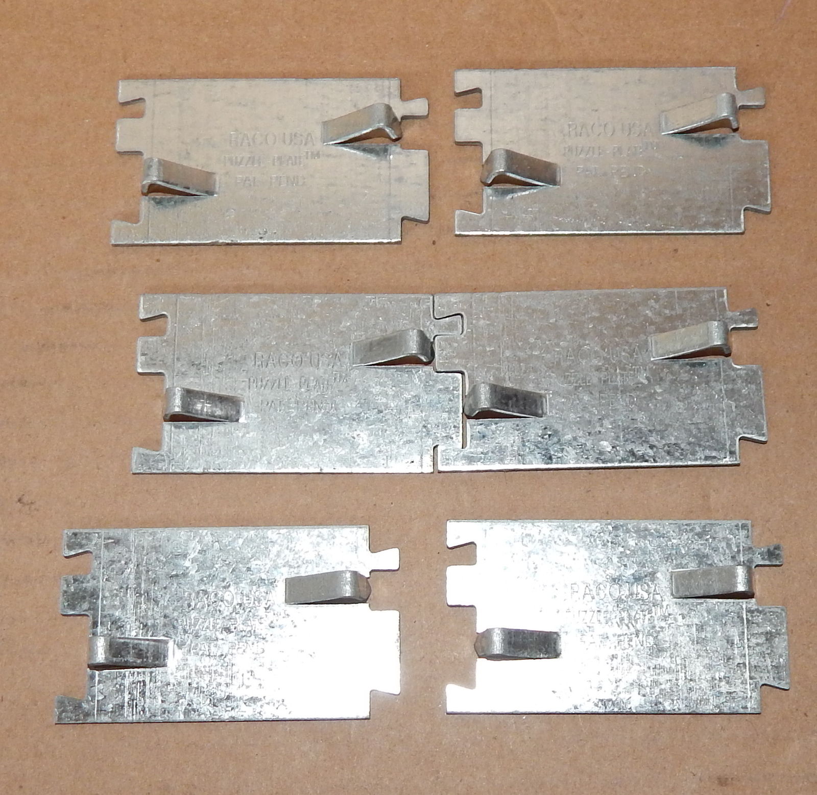 "Primary image for Electrical Metal PUZZLE PLATES 2712 CABLE PROTECTORS 2 3/4"" Raco 6 each 71F"