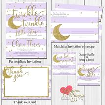 twinkle twinkle little star Baby Shower Invitation diaper raffle Lavende... - $1.75+