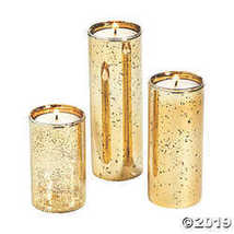 Gold-Flecked Mercury Cylinder Candle Holders - $16.74