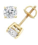Gift unisex round white, 14k gold & rose plated gemstone screw backing s... - $8.99+
