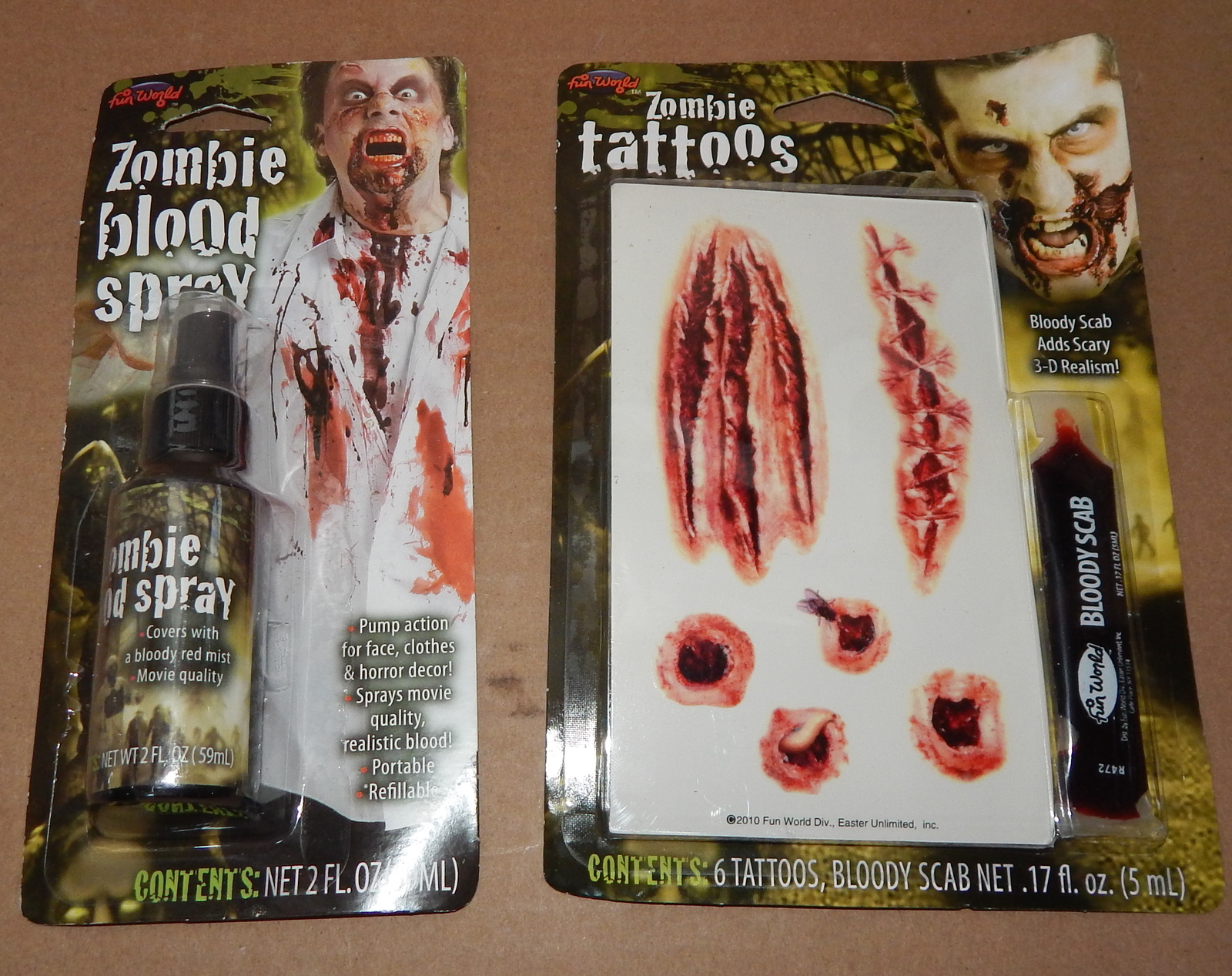 Primary image for Halloween Zombie Blood Spray Pump 2 oz & 6 Tattoos Fun World Bloody Scab 71G