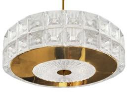 "sJK083: Orrefors 2-Tier Venini Drum Large Glass Chandelier (28""-60"" D) $2,980+  - $2,980.00"
