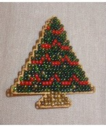 New Christmas Tree Glass Beads  Pin Brooch Jewelry Finished Mill Hill Ha... - $25.25