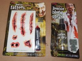 Halloween Zombie Blood Spray Pump 2 oz & 6 Tattoos Fun World Bloody Scab 71I - $6.92