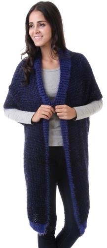Blue  Knit Marlowe  Cardigan cape wrap cloak one size fits most NEW