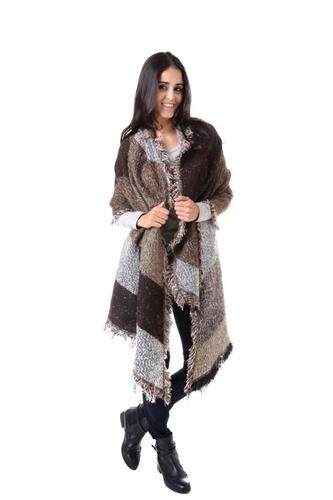 Brown Nadia  Large Shawl with fringe cape cloak one size fits most NEW
