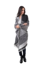 Black Nadia  Large Shawl with fringe cape cloak one size fits most NEW