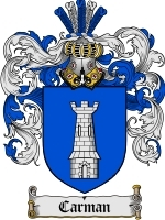Primary image for Carman Family Crest / Coat of Arms JPG or PDF Image Download